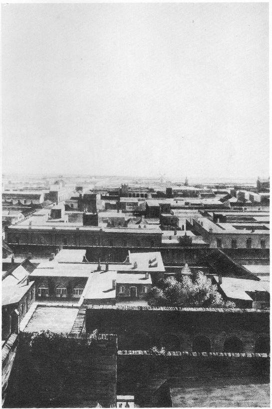 Vista de la Iglesia Presbiteriana Escocesa San Andrés desde la torre del Cabildo.Dib. E. Kretschmar, 1838
